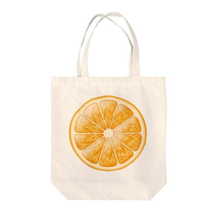 トマトカゲの輪切りオレンジのワンポイント Tote bags