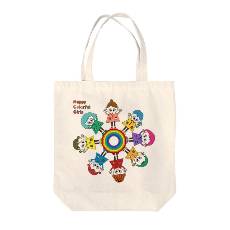 baanaruのHappyカラフルガールズ Tote bags