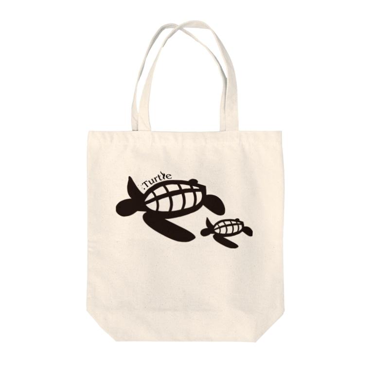 たかせ ゆづきのTurtle-Black Tote bags