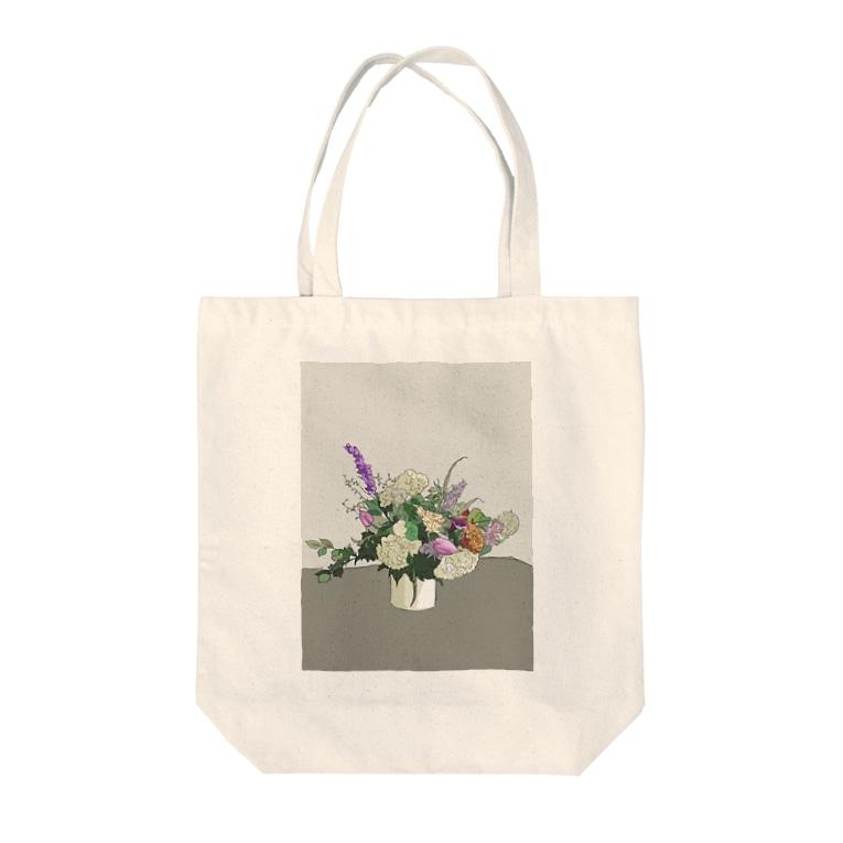 yukikopterの初夏のお花 輪郭あり Tote bags