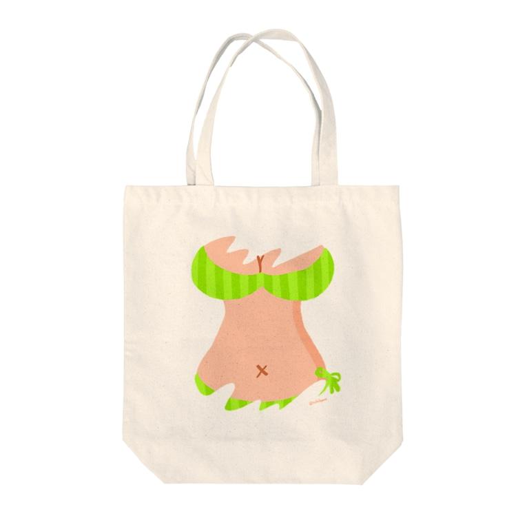 りおたのおっぱいTシャツ(YELLOW GREEN) Tote bags