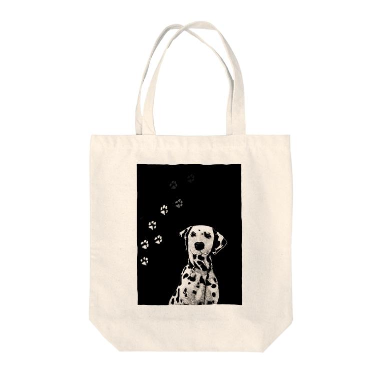 TokyoSienneのBLACK & WHITE DOG Tote bags