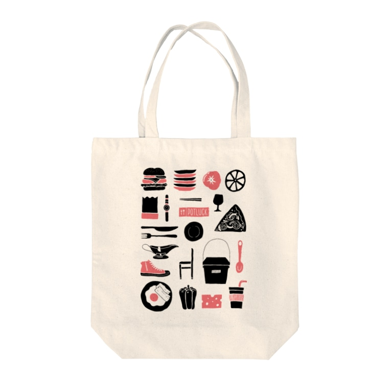 POTLUCK(ポットラック)のPOTLUCK Graffiti Pink Tote bags