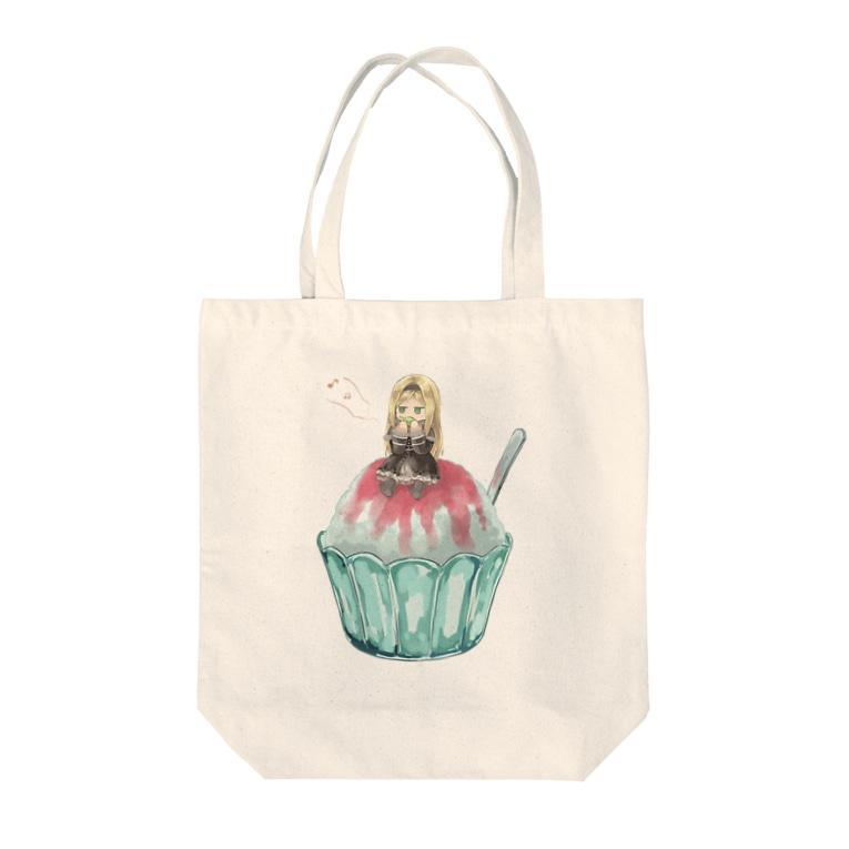 猫飯.exeのかき氷の上で草笛を吹く幼女 Tote bags