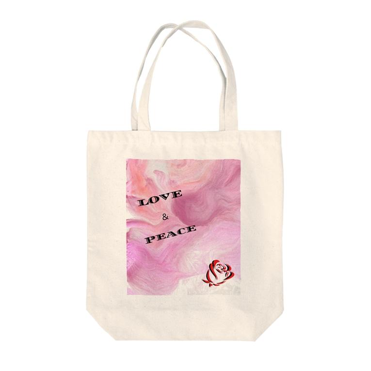 yayu7hi14a3のラブ&ピース Tote bags
