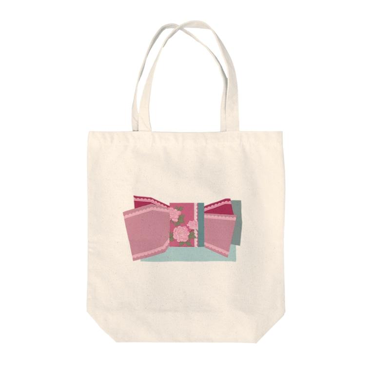 yacocoの帯柄 水色×ピンク Tote Bag