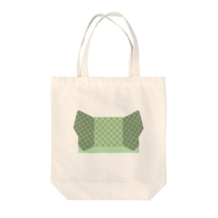 yacocoの帯柄 緑チェック Tote bags