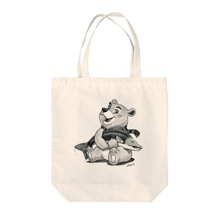 Tatsuya Artistのバーニーベア Tote bags