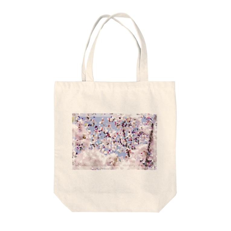 sakura-filmsの桜モザイクアート Tote bags