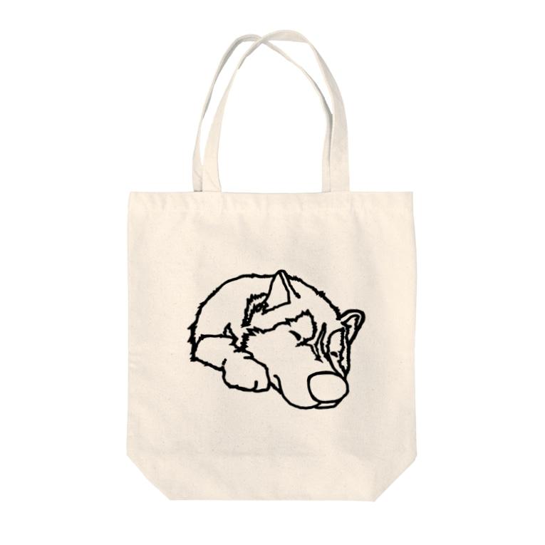 朔のボウルの寝てるハスキー Tote bags