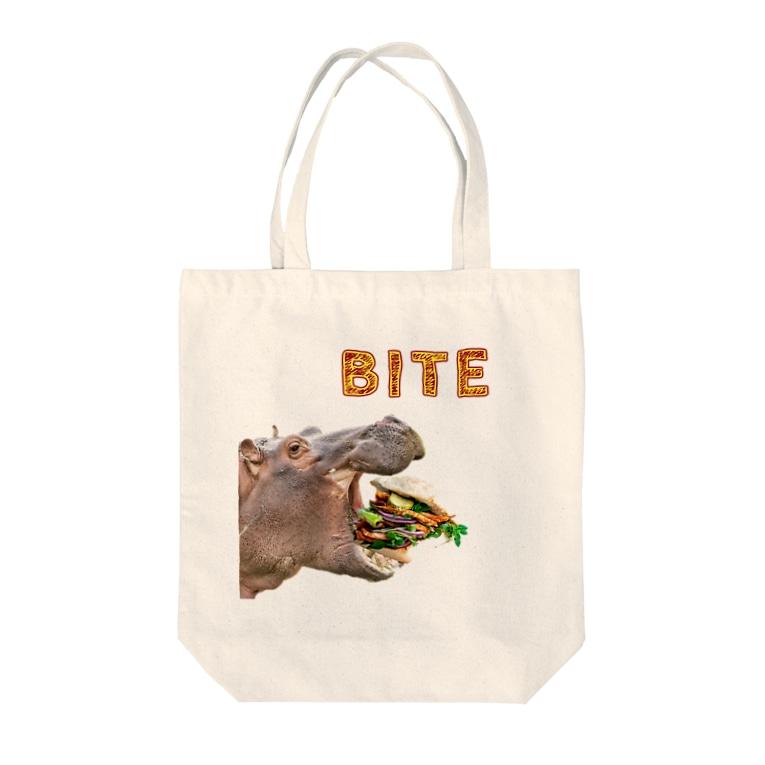 RDesignのBITE くり抜きversion Tote bags
