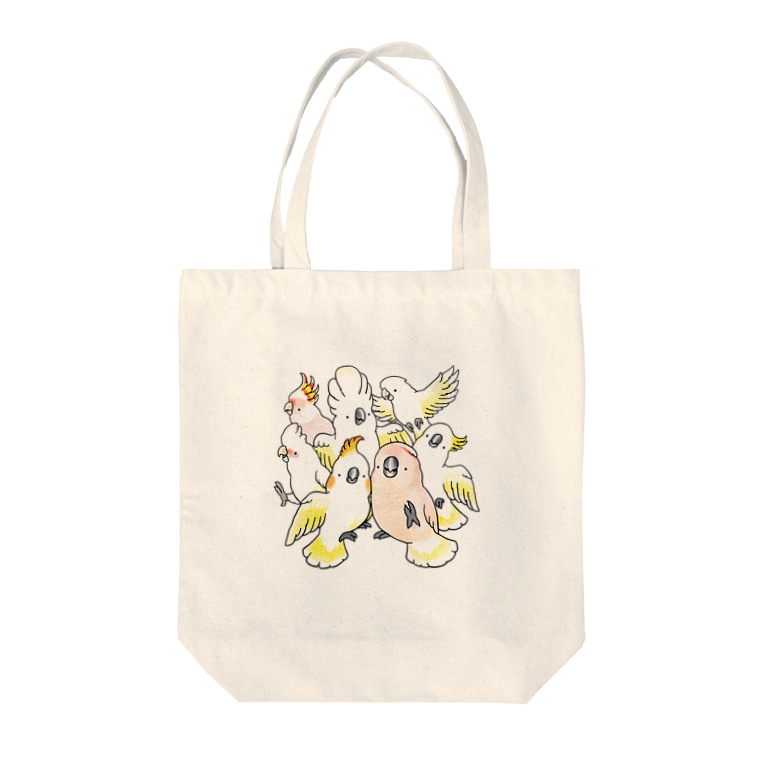 TORINOSUのぎゅうぎゅう白色オウム Tote bags