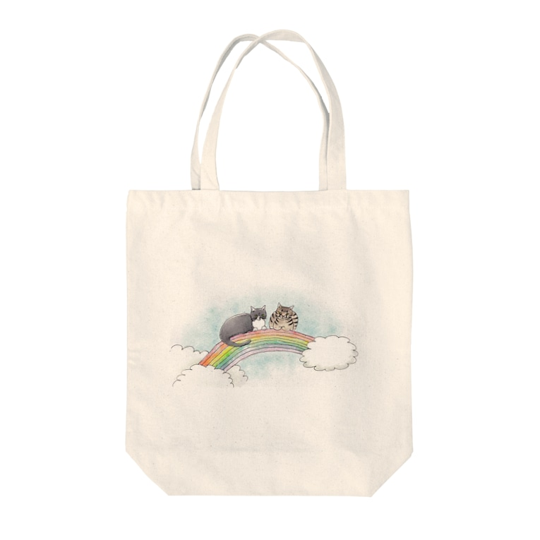 Atelier Heureuxの虹の橋のトロとクロ Tote bags