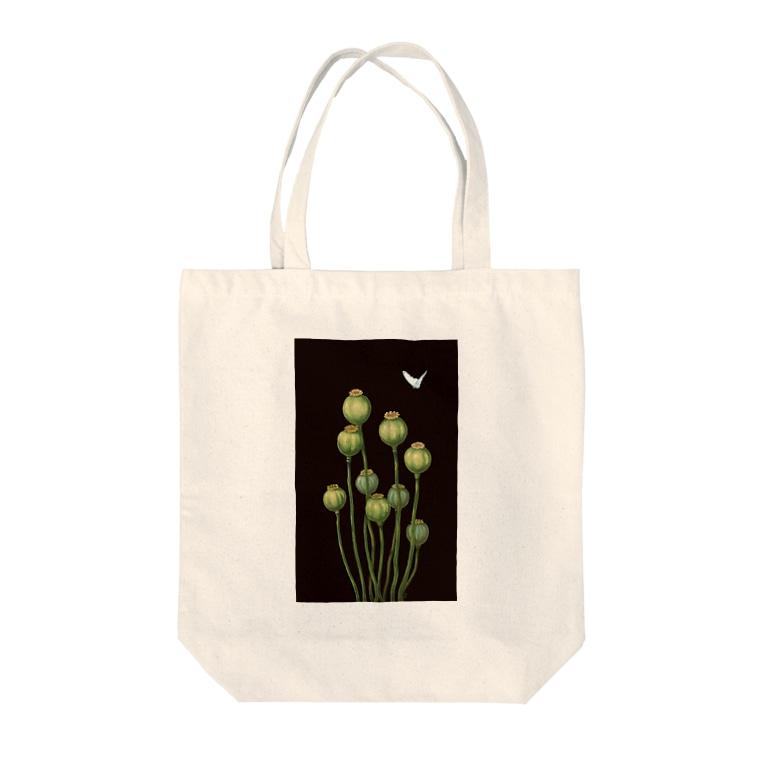 どろーいんぐ屋のFlower bud and Small butterfly Tote bags