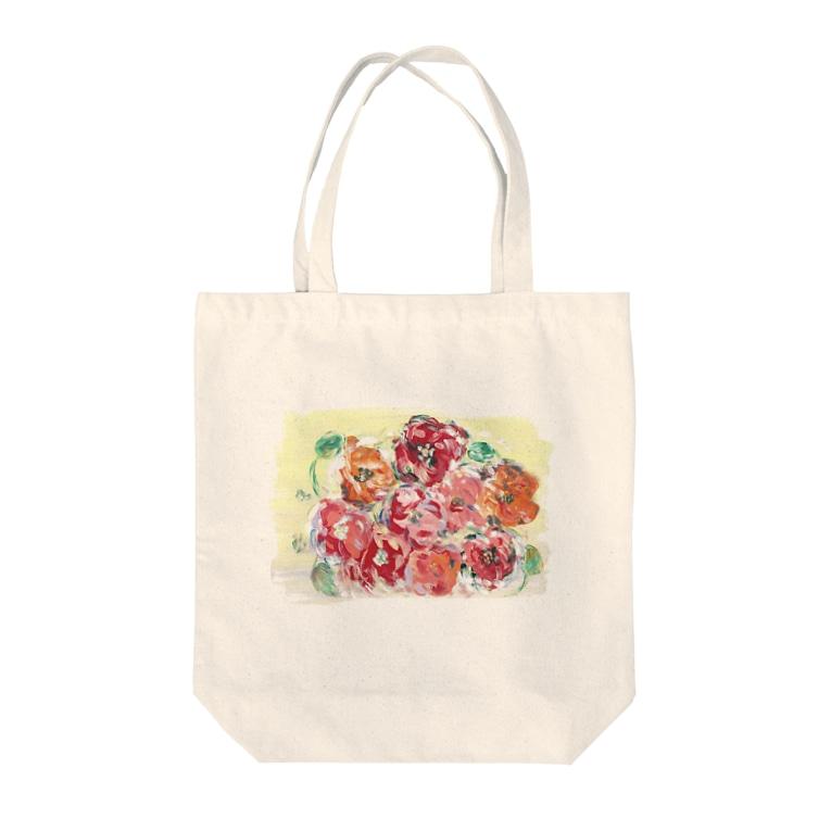 Asahi art styleのポピーの花畑 Tote bags