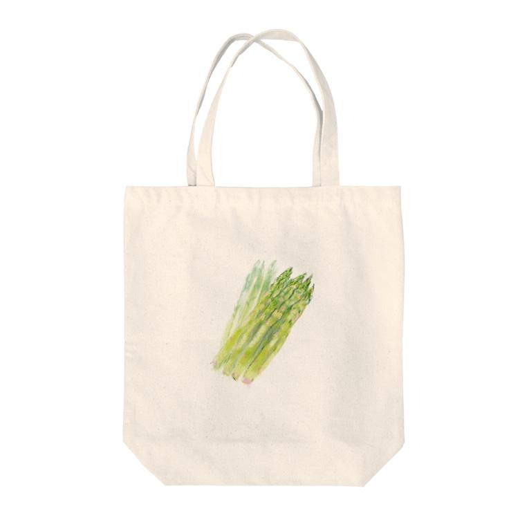 akane_art(茜音工房)のベジタブルバッグ(アスパラガス) Tote bags