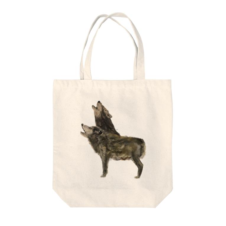 スマホdeイラストレーター・古川 セイのオオカミ Tote bags