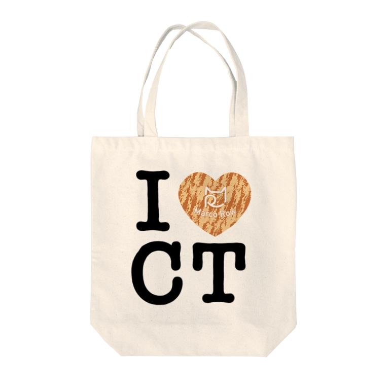 SHOP W SUZURI店のI ♥ Cha Tora トートバッグ Tote bags