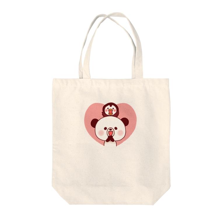 たかせ ゆづきのぽんやんとパフィ(ハート) Tote bags