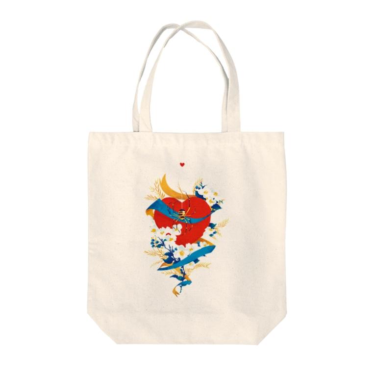 まのでまりなのSPIDER_HEART Tote bags