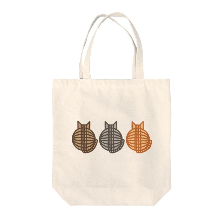 SHOP W SUZURI店の猫(3匹)の丸い背中 トートバッグ Tote bags
