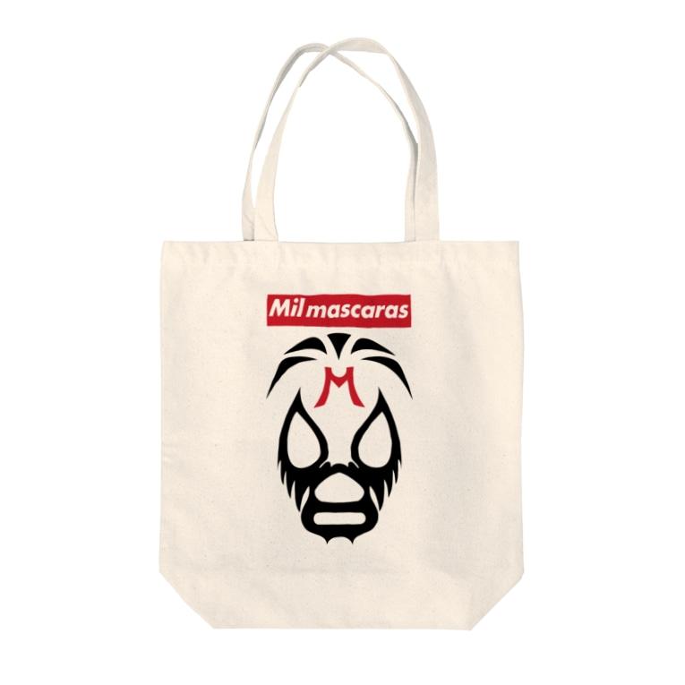DRIPPEDのMIL MASCARAS-ミル・マスカラス-赤ボックスロゴ Tote bags