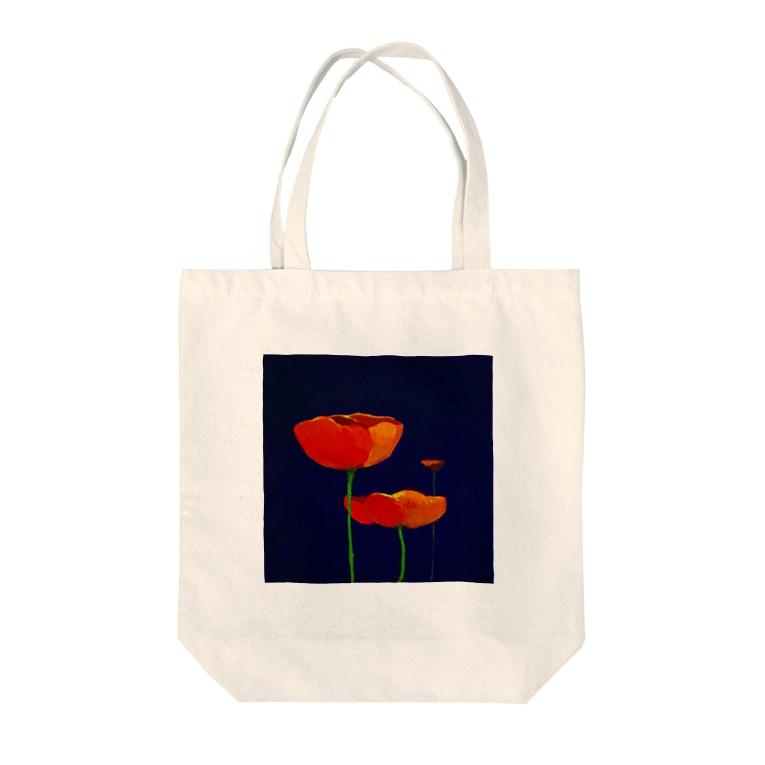 YOKO.Kの赤いポピー Tote bags