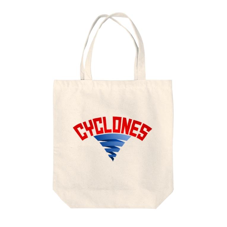 PB.DesignsのPB-サイクロンズ Tote bags