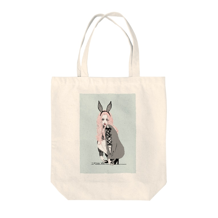 仔羊 めえのさみしがり屋のウサギちゃん Tote bags