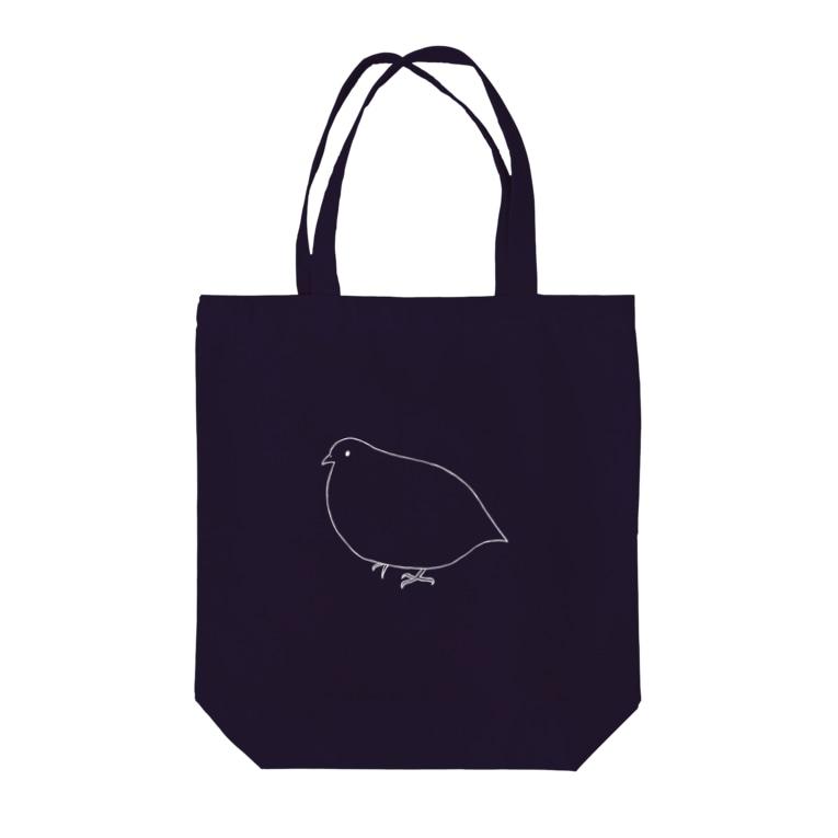 minatoriのうずらさん(2/白) Tote bags