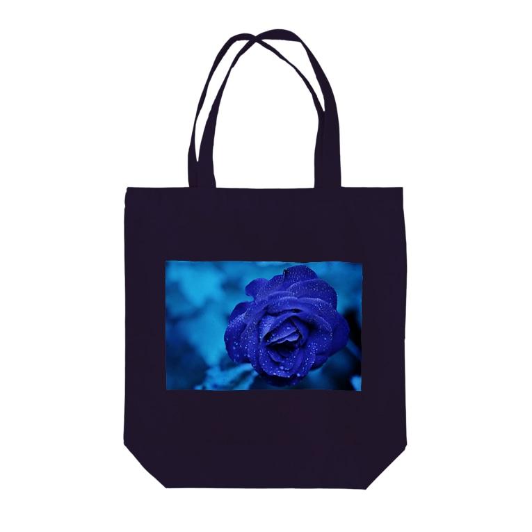 Ribbon-corsage*のブルーローズ Tote bags