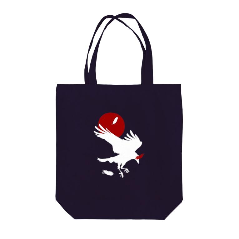 ESCHATOLOGYのレイヴン・ホワイト/赤月 Tote bags