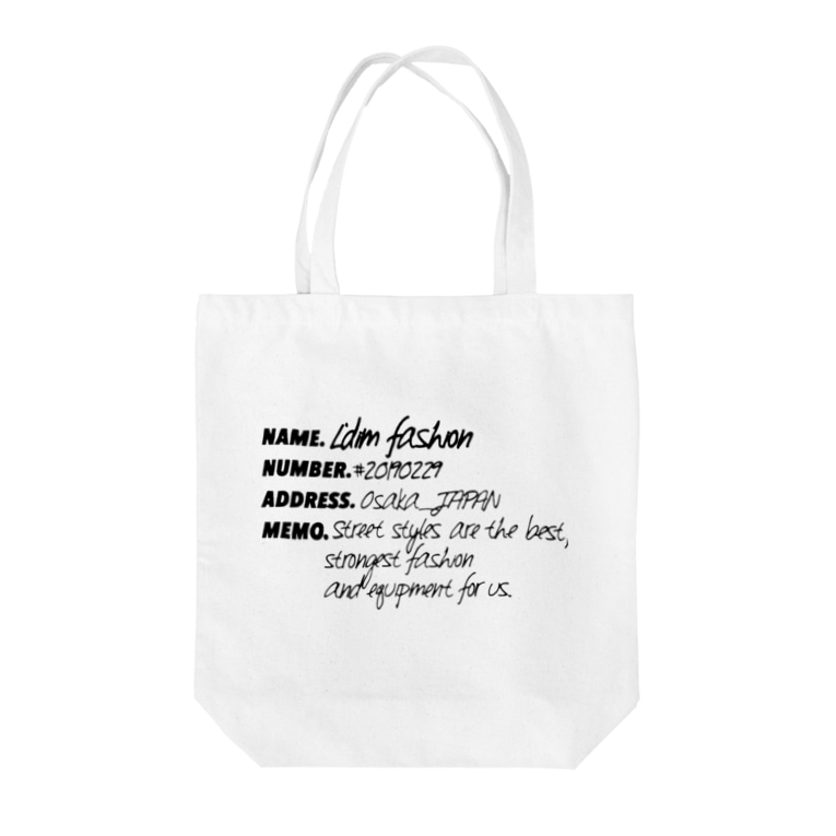 L'dim fashion 【エルディムファッション】ストリートスタイルのmy name is L'dim fashion. black colour Tote bags