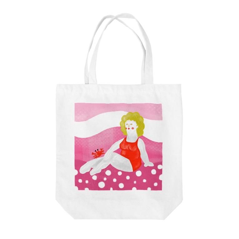Snowylabの砂浜の美女 Tote bags