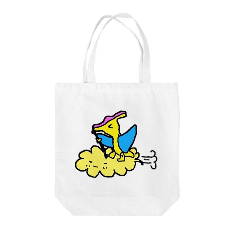 erichandmade × eric_joy_の筋斗雲プテラノドンくん Tote bags