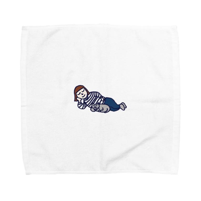ナウい6Tショップのネコと寝る Towel handkerchiefs
