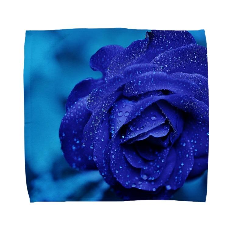 Ribbon-corsage*のブルーローズ Towel handkerchiefs