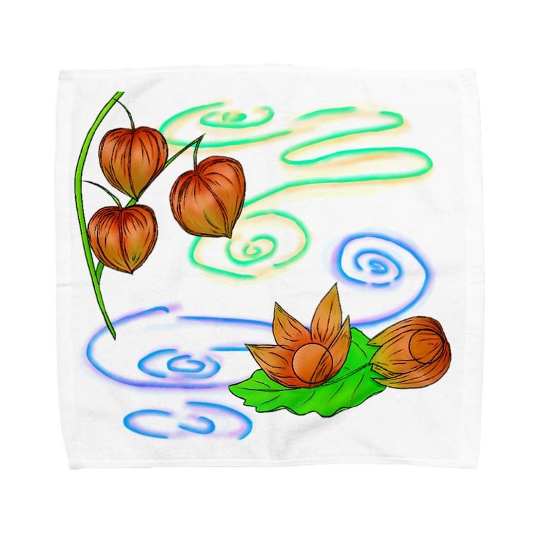 Lily bird(о´∀`о)の枝つきホオズキ 水紋(和柄)その2 Towel handkerchiefs