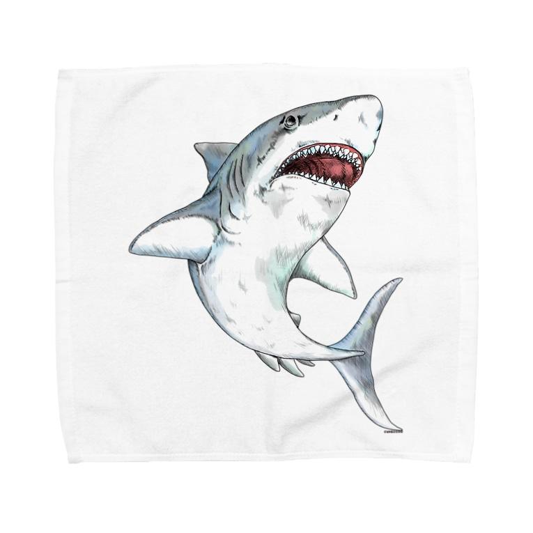 Cɐkeccooの凶暴につき注意!手描きサメ-水彩風 Towel handkerchiefs