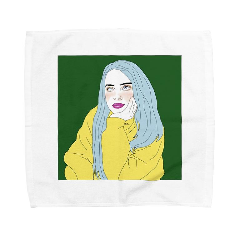 Girl_To_LadyのBlue Hair Girl Towel handkerchiefs