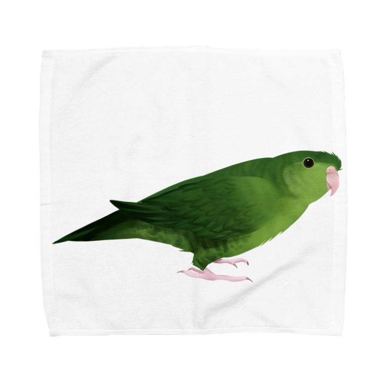 まめるりはことりのサザナミインコ グリーン【まめるりはことり】 Towel handkerchiefs