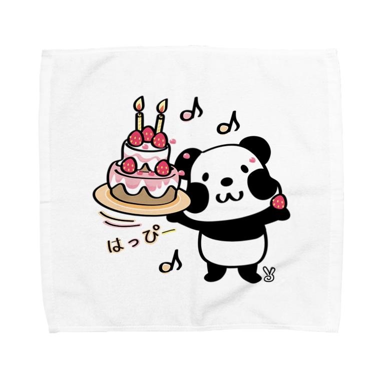 *suzuriDeMonyaa.tag*のkyu13ズレぱんだちゃんのはっぴー Towel handkerchiefs