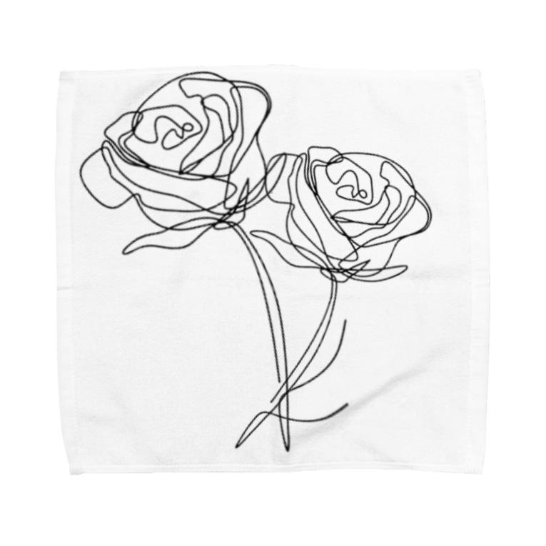 QB🦖のモノクロ_r Towel handkerchiefs