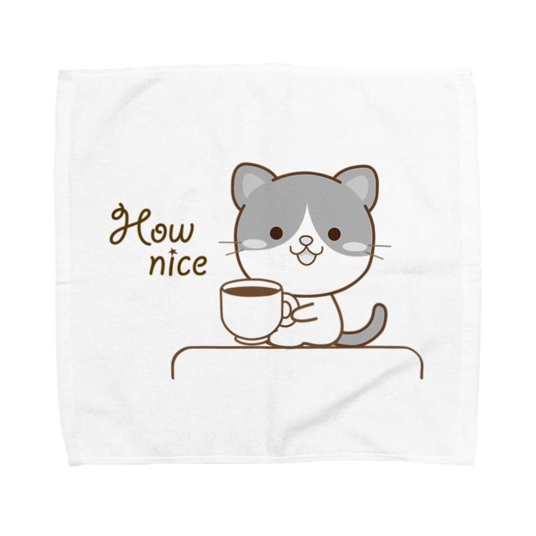 大人のためのねこの黒白猫のシンプルモノトーン Towel handkerchiefs