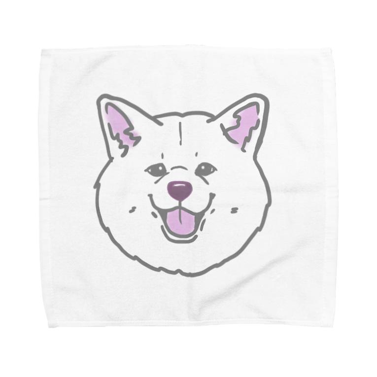 春風工房の秋田犬ハッピースマイル白毛 Towel handkerchiefs