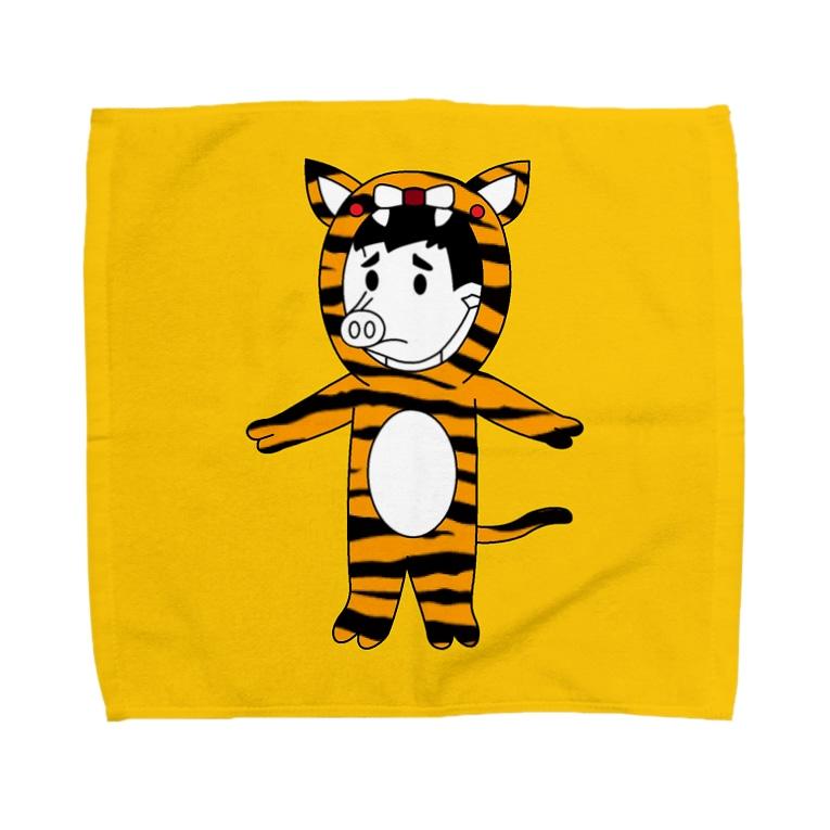 豚人イラストのパンダ武島のタイガーピッグ(ハンカチ版) Towel handkerchiefs