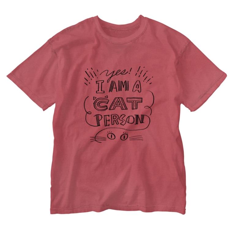 溝呂木一美のお店の私は猫派です。(裏印刷あり) Washed T-shirts