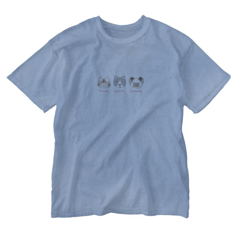 カラスとねこと。のさんびきのねこ Washed T-Shirt