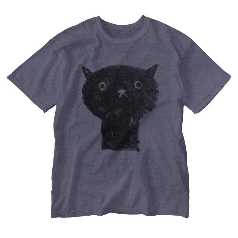 minakawanekoの陶器絵の黒猫 Washed T-Shirt