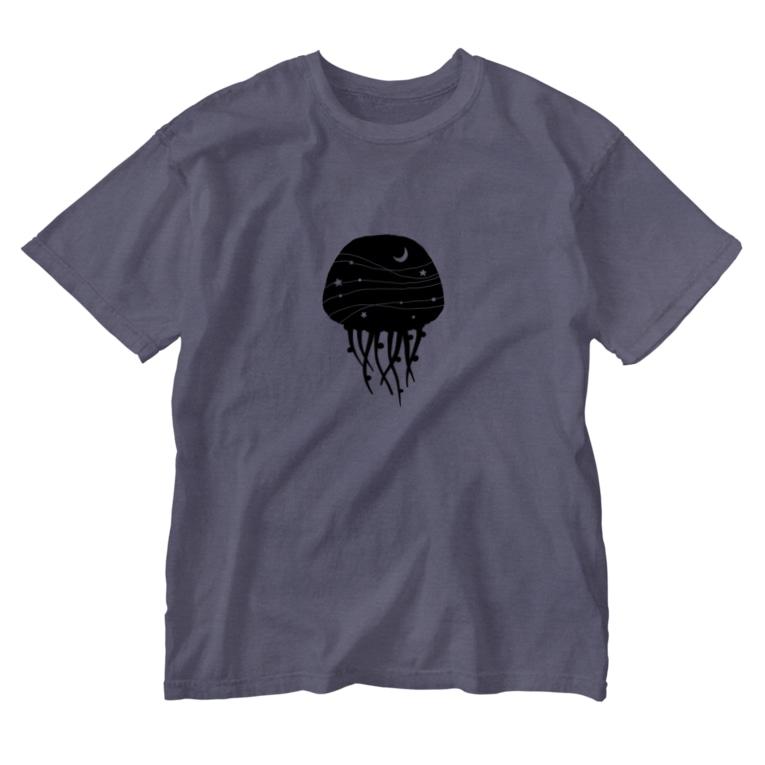 絵描きの消しゴムはんこ屋の夜のクラゲ Washed T-Shirt